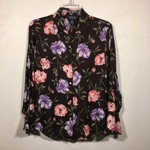 Jones New York SILK Button Up Floral Blouse M